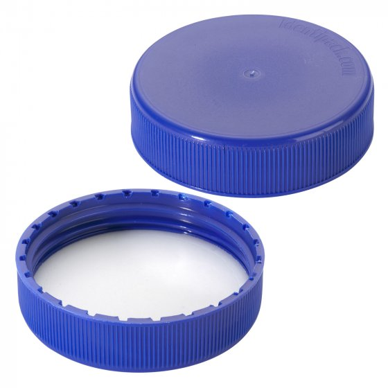 Cap, screw, liner, 63 mm, polyethylene foam, blue, 1000/box, for PE