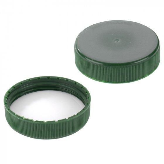 Cap, screw, liner, 63 mm, polyethylene foam, green, 1000/box, for PE
